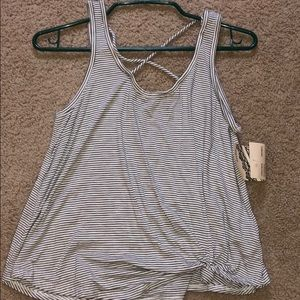Striped tank top with cross back